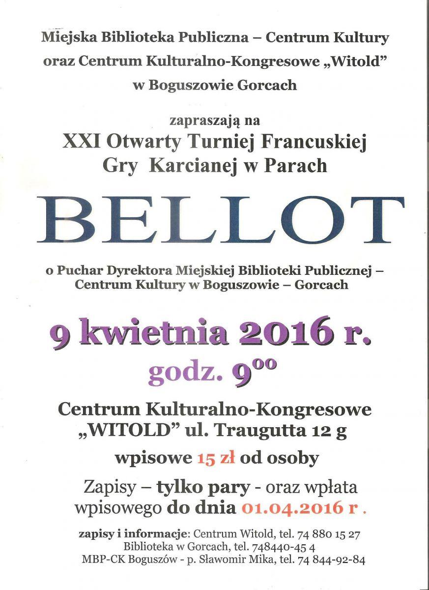 Zapraszamy na Turniej Bellota