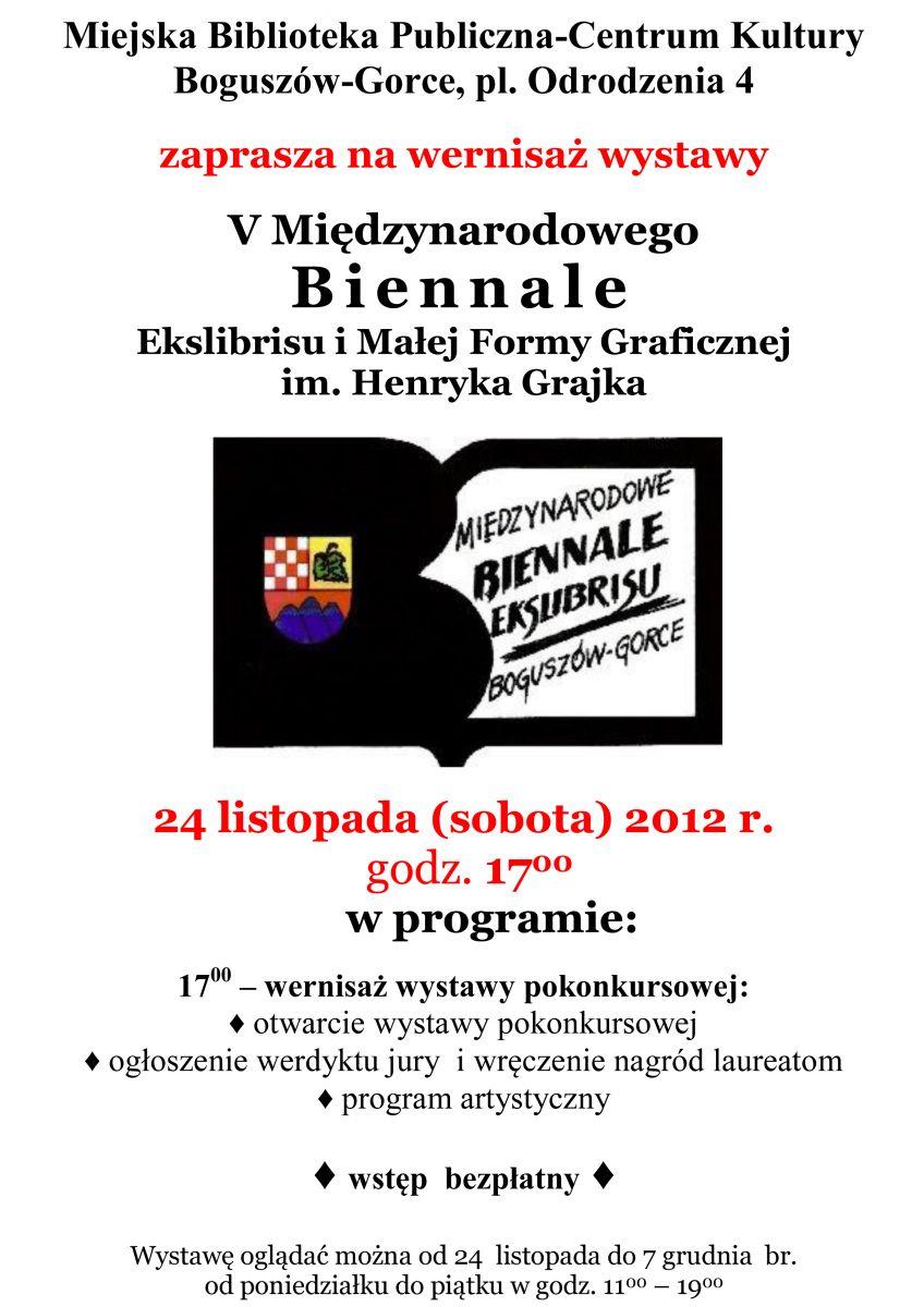 V Międzynarodowe Biennale Ekslibrisu i Małej Formy Graficznej im. Henryka Grajka