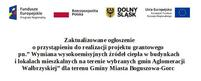 Zaktualizowane ogłoszenie naboru w trybie konkursu wniosków o udzielenie grantów dla obszaru obejmującego teren Gminy Miasta Boguszowa-Gorce w ramach projektu pn.