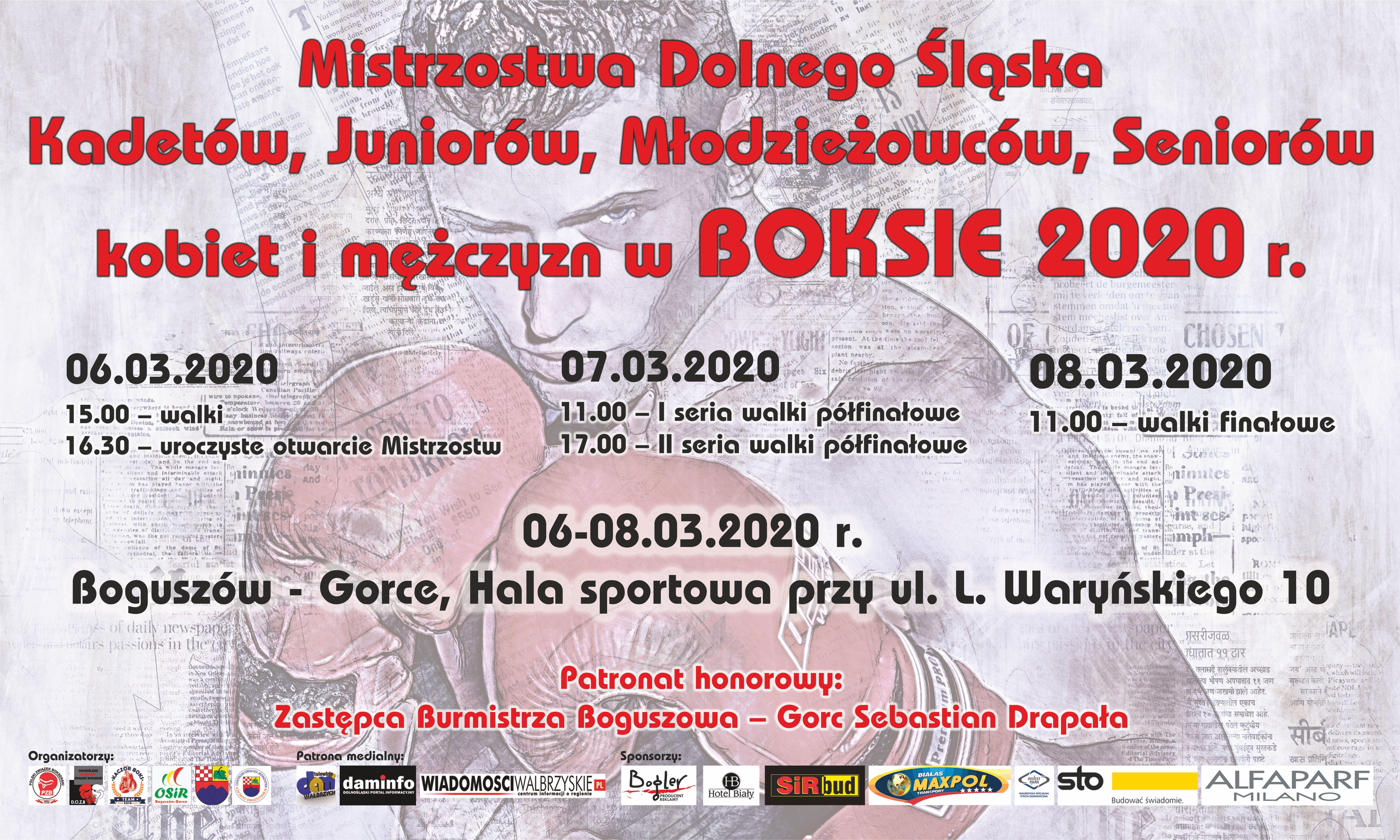 Mistrzostwa Dolnego Śląska kobiet i mężczyzn w BOKSIE 2020 r