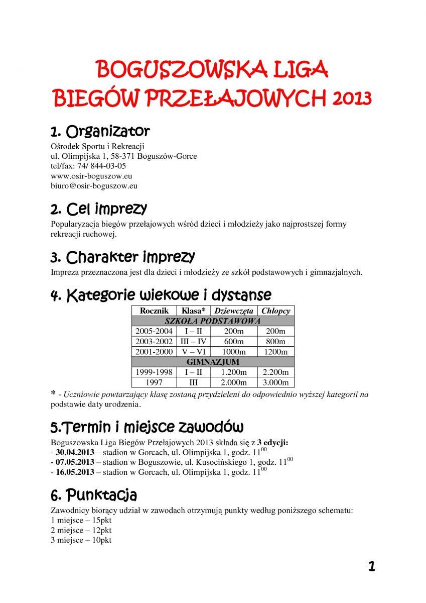 Boguszowska Liga Biegów Przełajowych Zaprasza!