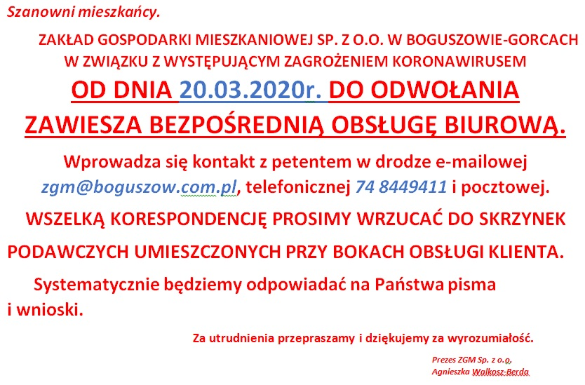 Zakład Gospodarki Mieszkaniowej Sp. z o.o. w Boguszowie-Gorcach informuje: