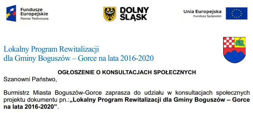Konsultacje społeczne projektu dokumentu pn.: