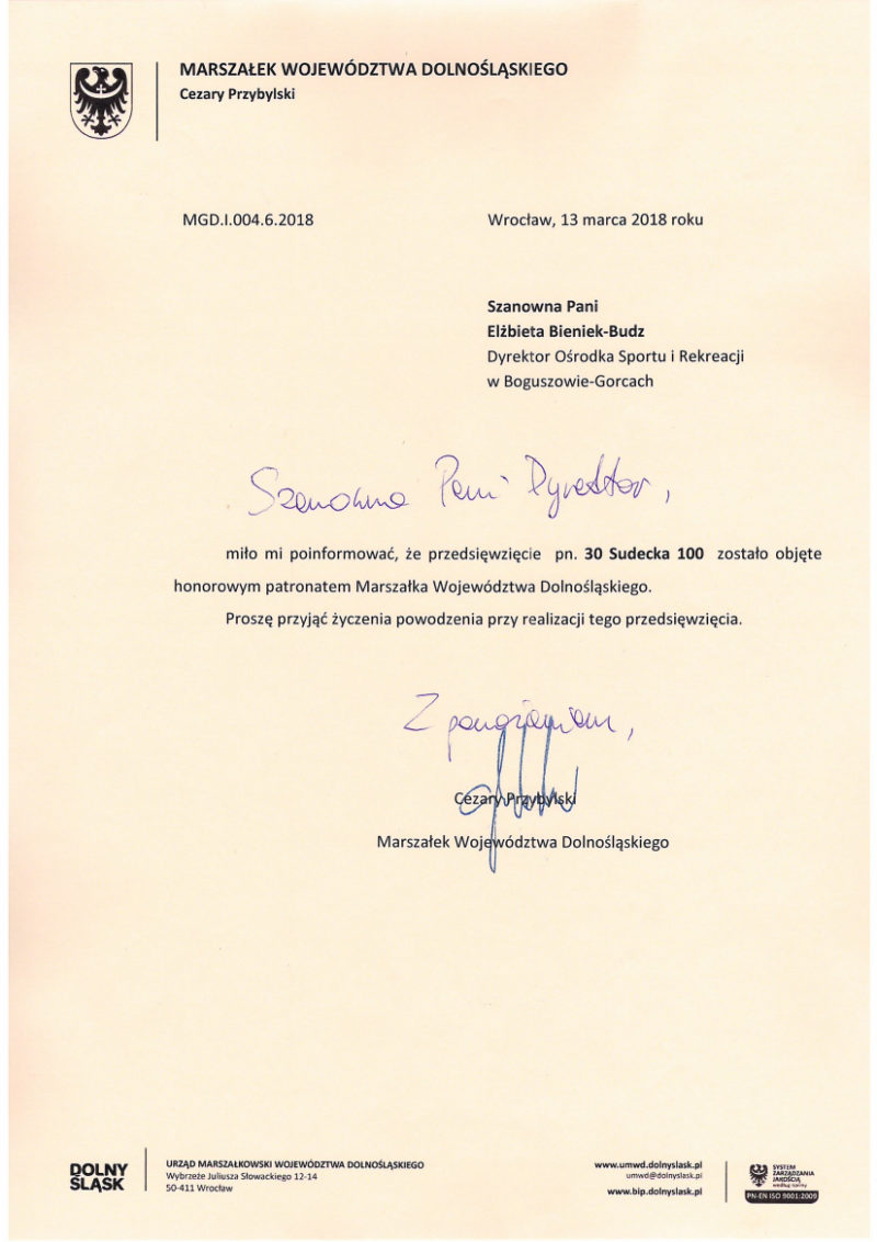 30 Sudecka Setka pod patronatem Marszałka!