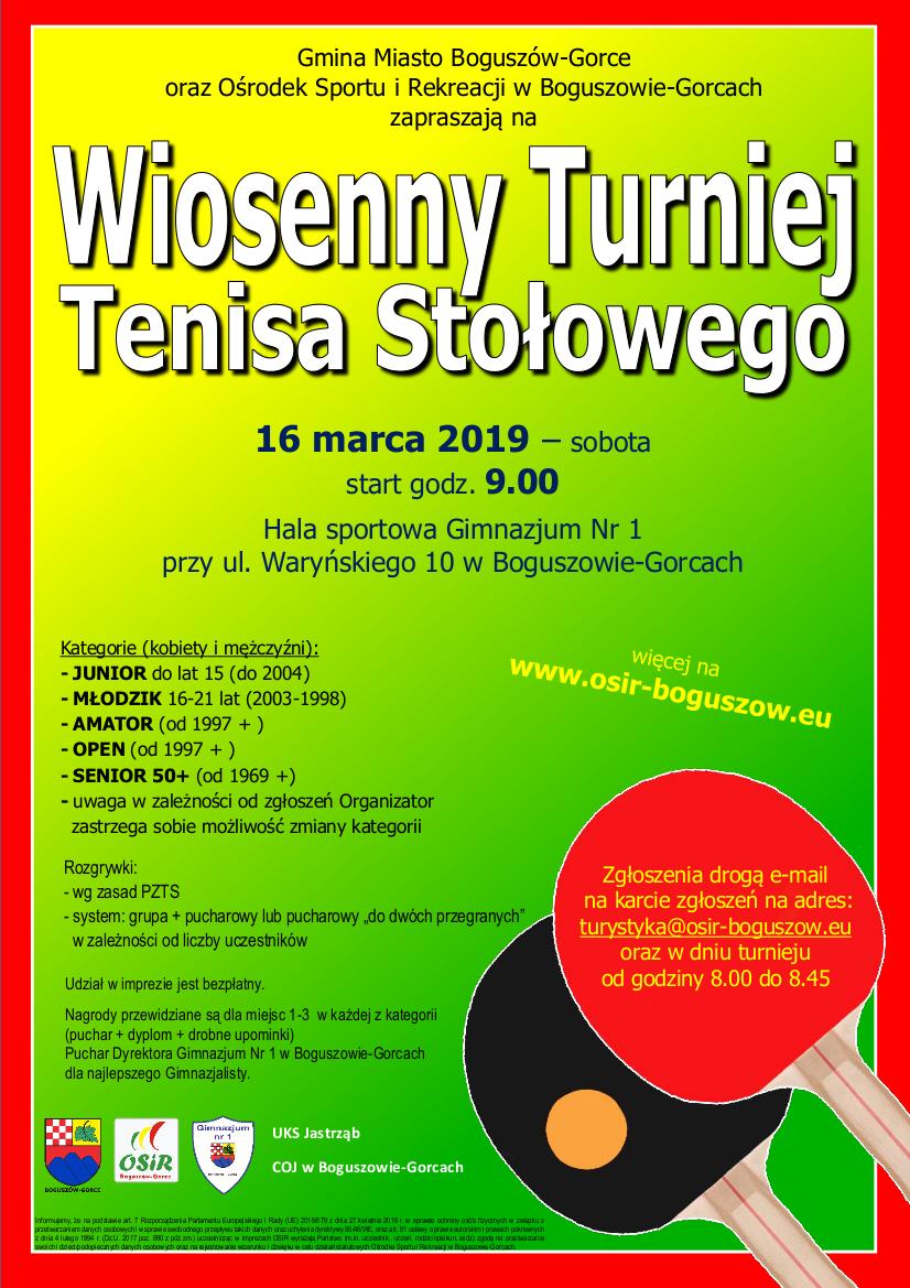 Wiosenny Turniej Tenisa Stołowego - Boguszów-Gorce