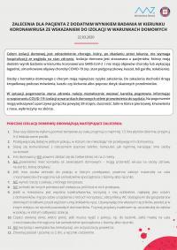 Zalecenia dla pacjenta z dodatnim wynikiem badania w kierunku koronawirusa ze wskazaniem do izolacji w warunkach domowych